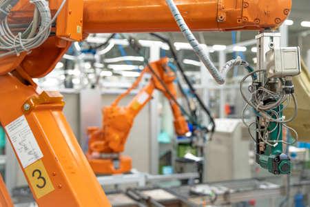 Foto de robotization of modern industry in the factory. New program industry 4.0 - Imagen libre de derechos