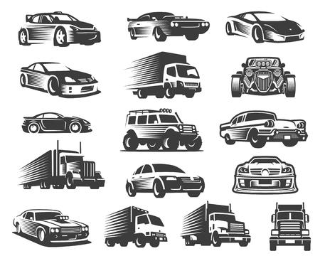 Ilustración de Different type of cars illustration set, car symbol collection, car icon pack - Imagen libre de derechos