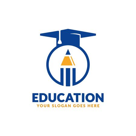 Illustration for Education logo design template, pencil and graduation cap icon stylized, perfect or educational industry - Royalty Free Image