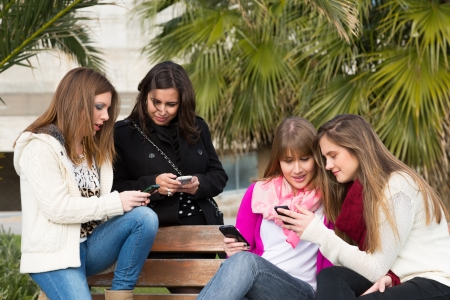 Girls gathered at the university to send mobile messages