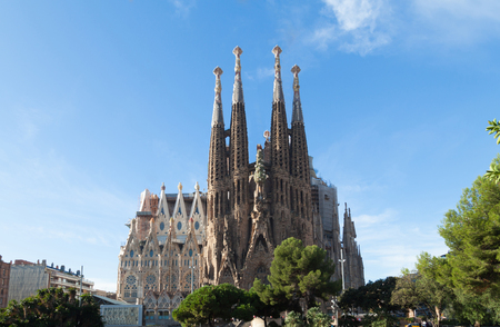 BARCELONA, SPAIN -NOVEMBER 03: Sagrada Familia on NOVEMBER 03, 2015: La Sagrada Familia - the impressive cathedral designed by architect Gaudi, which is being build since March 19, 1882 and is not finished.