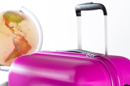 Travel suitcase with very striking color and white background