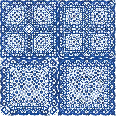 Illustration pour Ceramic tiles azulejo portugal. Set of vector seamless patterns. Colored design. Blue ethnic backgrounds for T-shirts, scrapbooking, linens, smartphone cases or bags. - image libre de droit