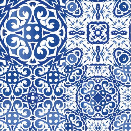 Illustration pour Decorative color ceramic azulejo tiles. Universal design. Kit of vector seamless patterns. Blue folk ethnic ornaments for print, web background, surface texture, towels, pillows, wallpaper. - image libre de droit