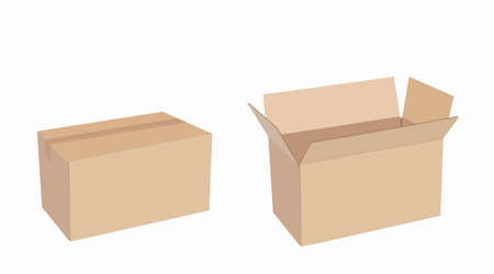 Illustration pour Vector Iolated Set of Carton Boxes, Opened and Closed - image libre de droit