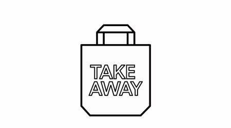 Ilustración de Vector Isolated Black and White Take Away Bag Icon or Sign - Imagen libre de derechos