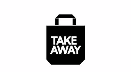 Illustration pour Vector Isolated Black and White Take Away Bag Icon or Sign - image libre de droit