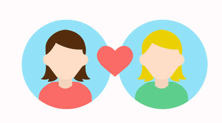 Ilustración de Vector Isolated Illustration of Two Girls Love Icon, Girls Match - Imagen libre de derechos