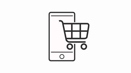 Ilustración de Phone shopping vector icon. Online shopping with your phone icon. - Imagen libre de derechos