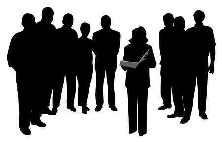 Illustration for Illustration of a woman public speaking reading or giving a presentation in front of people group. Isolated white background. EPS file available. - Royalty Free Image