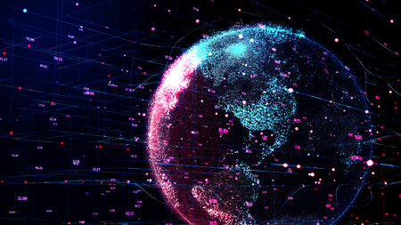 Photo pour 3D illustration of red planet Earth in global futuristic cyber-network, connection lines around the globe. Neural artificial grid shows data flow and cryptocurrency exchange in business concept. - image libre de droit