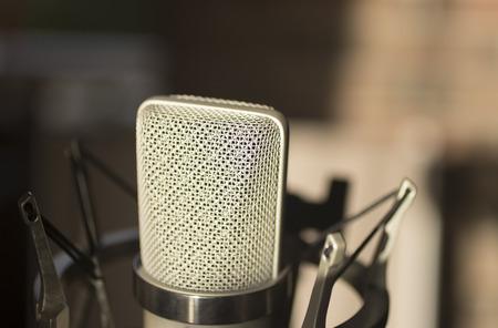 Photo pour Sound recording studio large diaphragm voice microphone for voiceover, singing and instruments. - image libre de droit