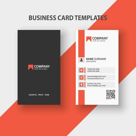 Illustration for Modern Vertical Double-sided Business Card Template. Stationery Design, Flat Design, Print Template, Vector illustration - Royalty Free Image