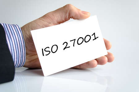 Iso 27001 text concept isolated over white background