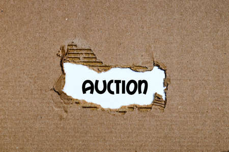 The word auction appearing behind torn paper