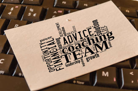 Photo pour Team word cloud collage over dark background - image libre de droit