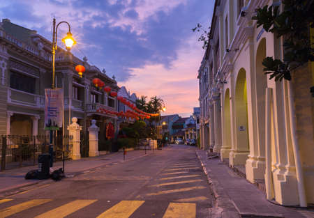 George Town, Penang - March 24, 2016: Dusk view of on Armenian Street and Yap Kongsi clan house, George Town, Penang, Malaysia on March 24, 2016.