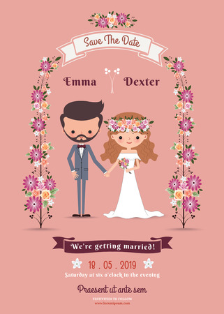 Photo pour Rustic bohemian cartoon couple wedding card on pink background - image libre de droit