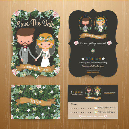 Rustic bohemian cartoon couple wedding card template set on wood backgroundのイラスト素材