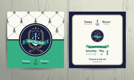Vintage nautical anchor wreath wedding invitation card template on wood background