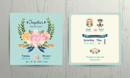 Ilustración de Floral roses wreath wedding cartoon bride and groom couple invitation card on net background - Imagen libre de derechos