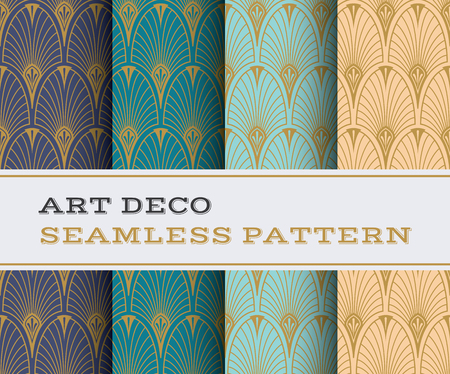 Illustration for Art Deco seamless pattern with 4 colours background - Royalty Free Image