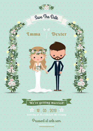 Foto de Hipster wedding invitation card bride & groom cartoon beach theme on polka dot background - Imagen libre de derechos