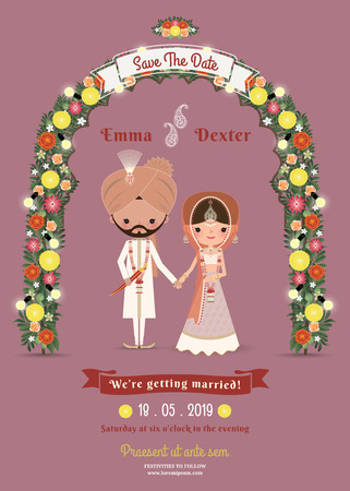 Photo pour Indian Wedding Bride & Groom Cartoon Romantic Invitation Card on Dark Pink Background - image libre de droit