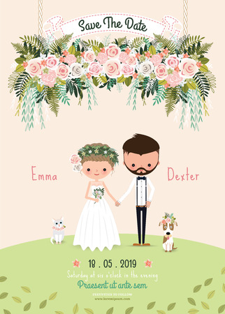 Ilustración de Rustic wedding couple save the date invitation card floral blossom, bride and groom with dog and cat - Imagen libre de derechos