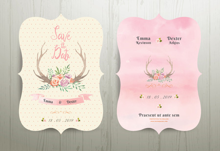 Antler flowers rustic wedding save the date invitation card 02 on wood backgroundのイラスト素材