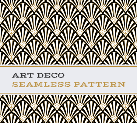Illustration for Art Deco seamless pattern with black white and gold colours - Royalty Free Image