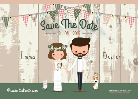 Illustration pour Couple rustic wedding invitation card and save the date with wood background - image libre de droit