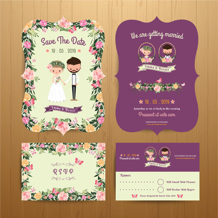 Rustic Blossom Flowers Cartoon Couple Wedding Invitation