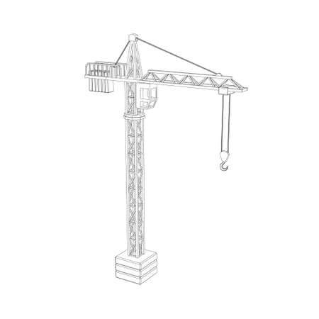 Ilustración de Tower crane. Isolated on white background.Vector outline illustration. - Imagen libre de derechos