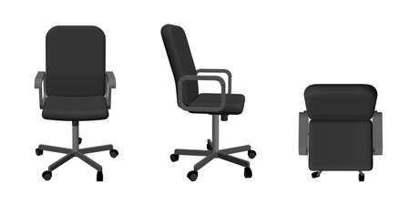 Illustration pour Office chair. Isolated on white background. 3d Vector illustration. Different viewes. - image libre de droit