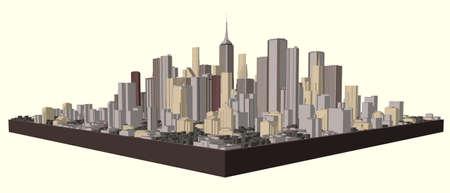 Illustration for 3D model of city. Vector illustration. - Royalty Free Image
