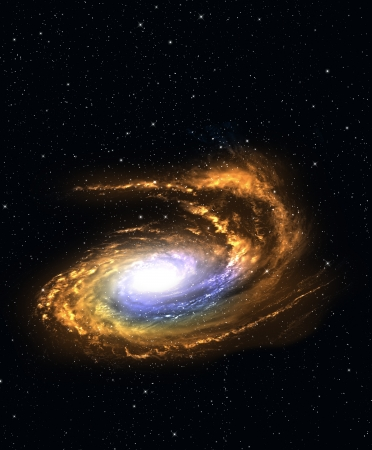 Colorful Three Arm Spiral Galaxy