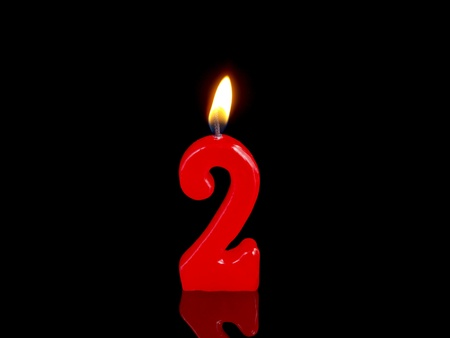 Birthday candle showing Nr. 2