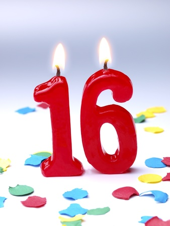 Birthday candles showing No. 16
