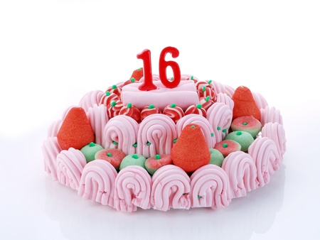 Birthday cake with red candles showing Nr  16