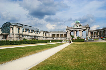 BRUSSELS, BELGIUM - JUNE 30, 2010: The Parc du Cinquantenaire is famous for the big exhibitional complex, consisting of the Triumphal Arch and museums, located in its arms, on June 30 in Brussels.
