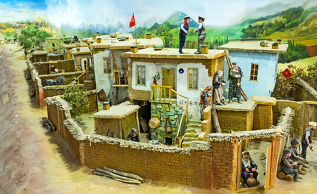 KONYA, TURKEY - JANUARY 20, 2015: The diorama of the rural life with the miniature figures of people and village street, on January 20 in Konya.
