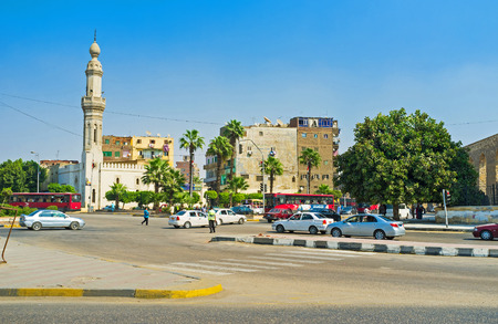CAIRO, EGYPT - OCTOBER 10, 2014: The crossroad next to the medieval aqueduct connects the roads from El Roda Island with the main roads of the city, on October 10 in Cairo.