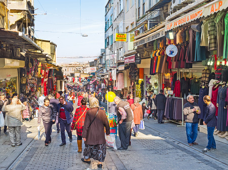 ISTANBUL, TURKEY - JANUARY 21, 2015: The large market in Fatih district occupied many quarters and offers different types of goods, on January 21 in Istanbul.