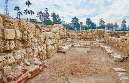 Alexandria boasts preserved Roman Auditoria - the lecture halls on territory of archaeological site of Kom Ad Dikka, Egypt.