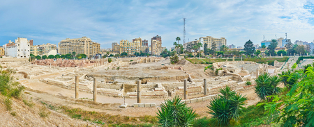 Panorama of the antique street, Roman Auditorium (lecture hall) and amphitheatre in Kom Ad Dikka archaeological site, Alexandria, Egypt.