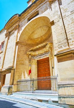 The facade of monumental St Roque church, located in St Ursula street of Valletta, Malta.