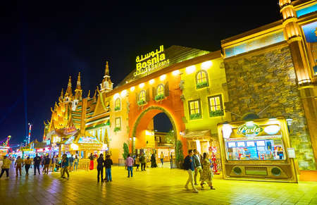 Photo pour DUBAI, UAE - MARCH 5, 2020: The facade of Bosnia and Balkans Pavilion of Global Village Dubai, decorated in style of Balkanian traditional houses, on March 5 in Dubai - image libre de droit
