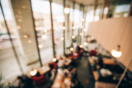 Blurred interior of co working space with luxury stylish lightening