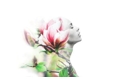 Photo pour Multiple exposure. Woman and magnolia - image libre de droit